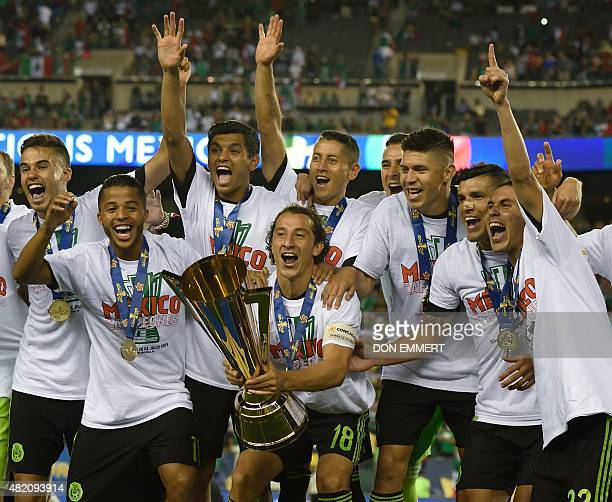 Mexico's national soccer team celebrates their victory in the 2015 CONCACAF Gold Cup final between Jamaica and Mexico July 26 2015 in Philadelphia...