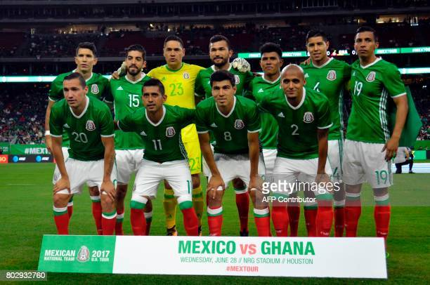 Mexico's national soccer team poses for the photographers before their friendly match between with Ghana at NRG stadium on June 28 2017 in Houston...