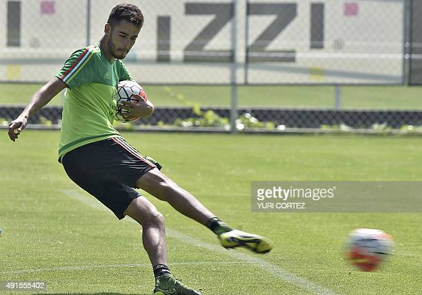 Mexico's national team defender Diego Reyes kicks the ball during a training session at the High Performance Center in the outskirts of Mexico City...