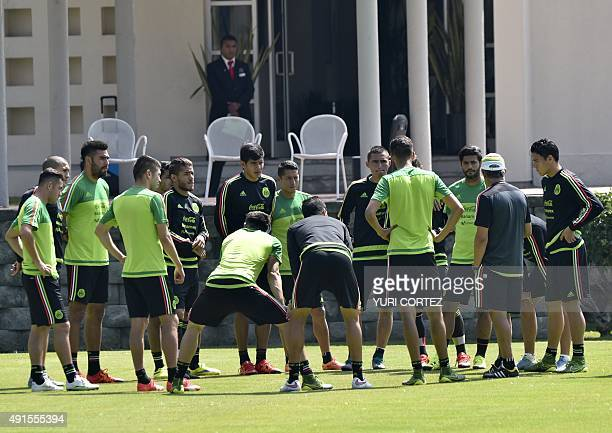 Mexico's national team footballers meet during a training session at the High Performance Center in the outskirts of Mexico City on October 6 2015...