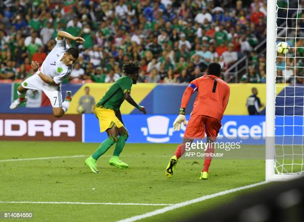 Mexico's Orbelin Pineda misses a shot on goal against Jamaica during the Mexico vs Jamaica CONCACAF Group C Gold Cup soccer game on July 13 2017 at...
