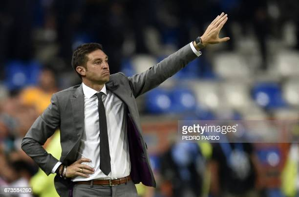 Mexico´s Pachuca coach Diego Alonso gestures during their CONCACAF Champions League Final match against Mexico´s Tigres at the Hidalgo stadium in...