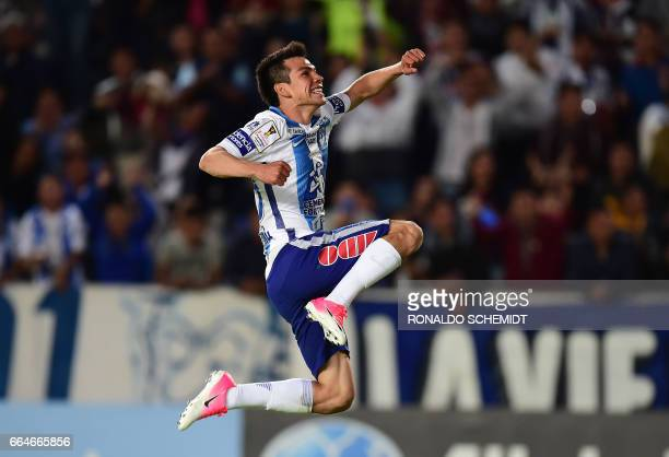 Mexico's Pachuca player Hirving Rodrigo Lozano celebrates his goal against FC Dallas of the US during their CONCACAF Champions League semifinal...