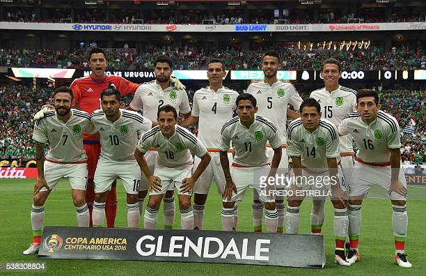 Mexico's players are pictured before the start of the Copa America Centenario football tournament match against Uruguay in Glendale Arizona United...