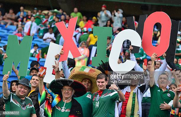 Mexico's players cheer for their team during the Group A football match between Mexico and Cameroon at the Dunas Arena in Natal during the 2014 FIFA...