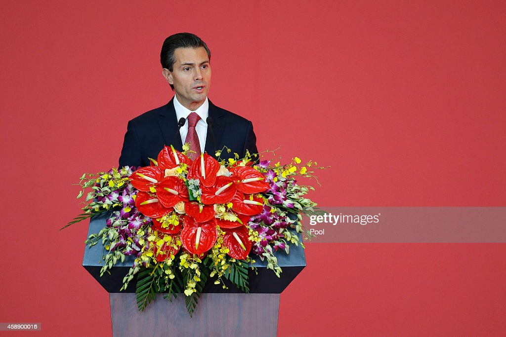 Mexico's President Enrique Pena Nieto delivers a speech at the opening ceremony of the exhibition 'Mayas: The Language of Beauty' at the National Museum of China on November 13, 2014 in Beijing, China.