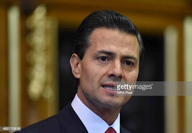 Mexico's President Enrique Pena Nieto delivers an address to members of the British AllParty Parliamentary Group at the Houses of Parliament on March...