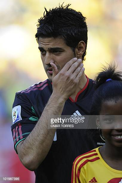 Mexico's striker Carlos Vela poses prior his team's Group A first round 2010 World Cup football match against South Africa on June 11 2010 at Soccer...