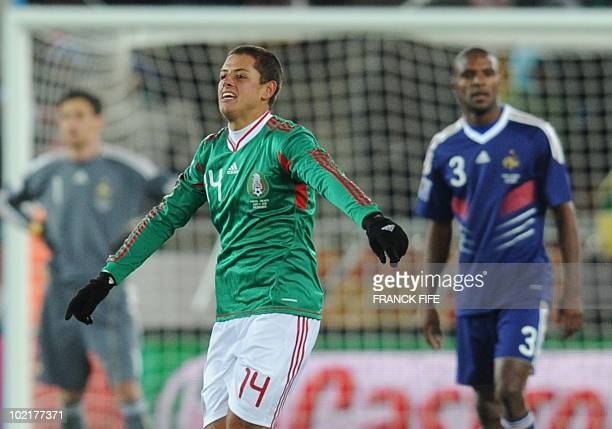 Mexico's striker Javier Hernandez celebrates after scoring against France during the 2010 World Cup group A first round football match between Mexico...