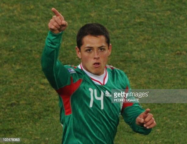 Mexico's striker Javier Hernandez celebrates his goal during the 2010 World Cup round of 16 football match Argentina vs Mexico on June 27 2010 at...