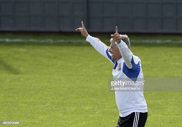 Mexico's Tigres coach Ricardo Ferretti celebrates during a training session in Buenos Aires Argentina on August 4 2015 on the eve of the Copa...