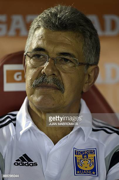 Mexico's Tigres' coach Ricardo Ferretti looks on during the Copa Libertadores 2015 group 6 football match against Argentina's River Plate at the...