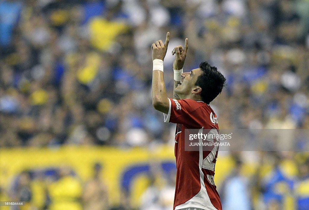 Mexico's Toluca forward Edgar Benitez celebrates after scoring the team's second goal against Argentina's Boca Juniors during their Copa Libertadores 2013 Group 1 football match at 'La Bombonera' stadium in Buenos Aires, Argentina, on February 13, 2013. AFP PHOTO / Juan Mabromata