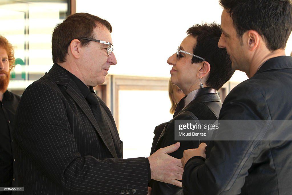 Mey Hoffman maitre Juan Munoz, Carmen Ruscalleda and Raul Balm attend Mey Hoffman's funeral at Tanatori Sant Gervasi on May 5, 2016 in Barcelona, Spain.