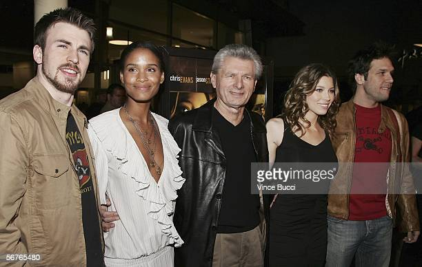 Meyer Gottlieb president Samuel Goldwyn Films poses with cast members from left Chris Evans Joy Bryant Jessica Biel and Dane Cook at the premiere of...