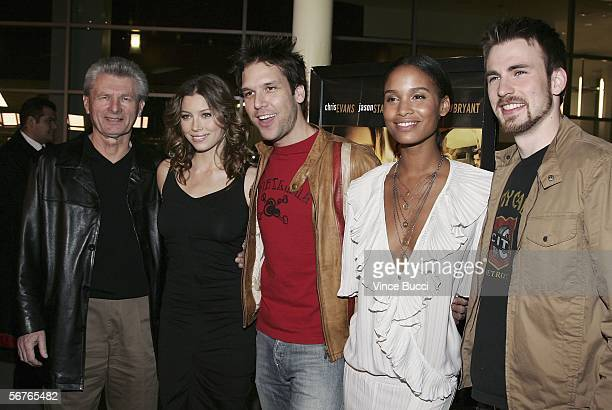 Meyer Gottlieb president Samuel Goldwyn Films poses with cast members Jessica Biel Dane Cook Joy Bryant and Chris Evans at the premiere of the Samuel...