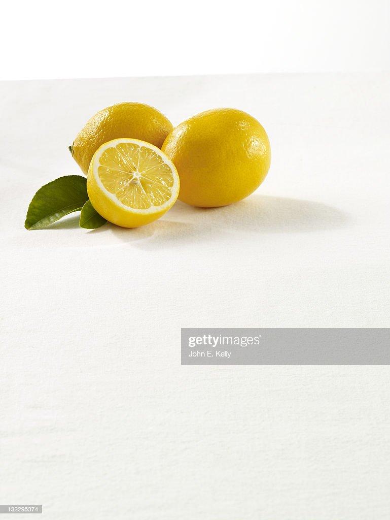 Meyer Lemons on White : Stock Photo