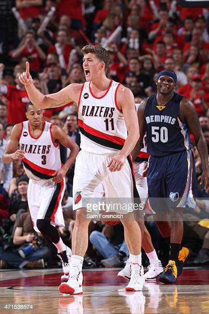 Meyers Leonard of the Portland Trail Blazers celebrates against the Memphis Grizzlies in Game Four of the Western Conference Quarterfinals during the...