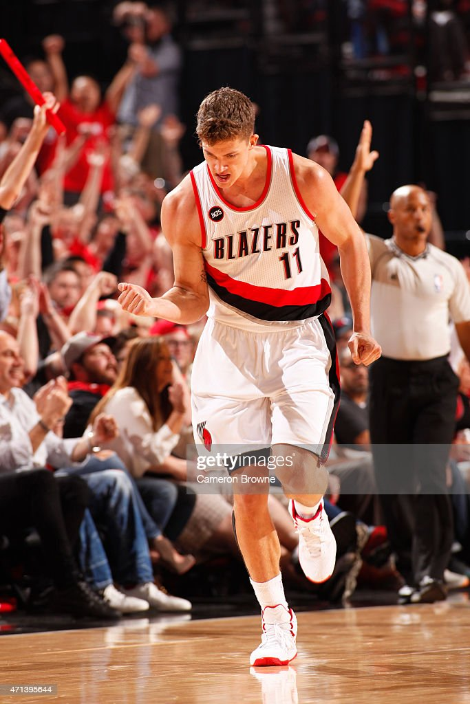 Meyers Leonard of the Portland Trail Blazers during the game against the Memphis Grizzlies in Game Four of the Western Conference Quarterfinals...