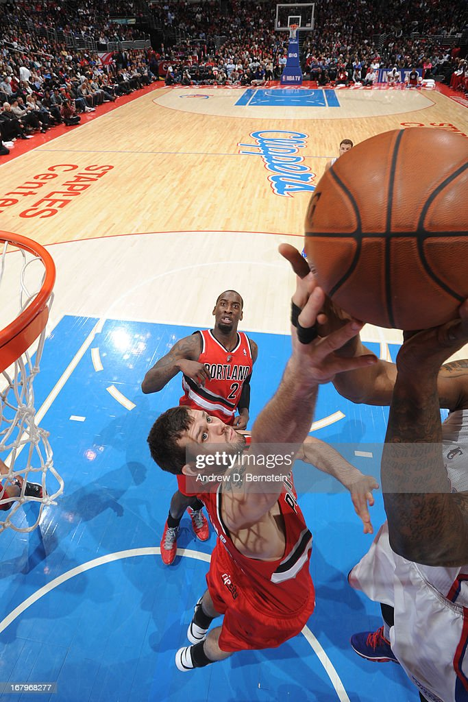 <a gi-track='captionPersonalityLinkClicked' href=/galleries/search?phrase=Meyers+Leonard&family=editorial&specificpeople=6893999 ng-click='$event.stopPropagation()'>Meyers Leonard</a> #11 of the Portland Trail Blazers goes up a rebound against the Los Angeles Clippers at Staples Center on April 16, 2013 in Los Angeles, California.