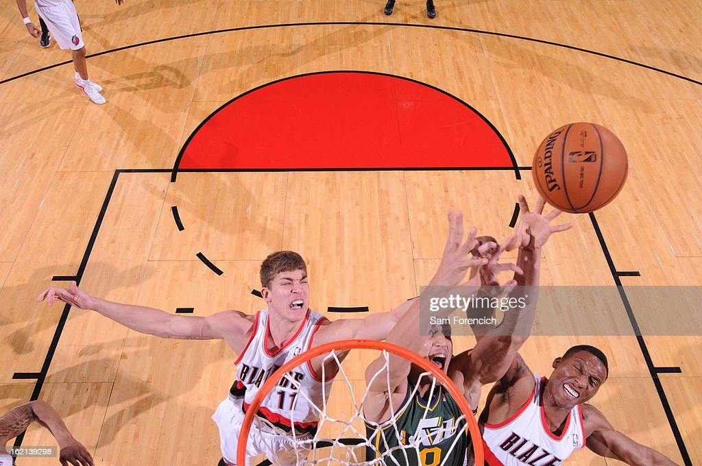 <a gi-track='captionPersonalityLinkClicked' href=/galleries/search?phrase=Meyers+Leonard&family=editorial&specificpeople=6893999 ng-click='$event.stopPropagation()'>Meyers Leonard</a> #11 of the Portland Trail Blazers grabs a rebound against the Utah Jazz on February 2, 2013 at the Rose Garden Arena in Portland, Oregon.