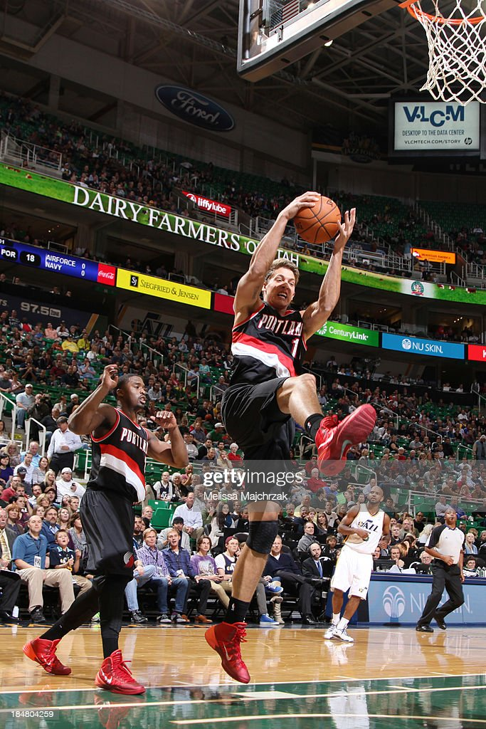 <a gi-track='captionPersonalityLinkClicked' href=/galleries/search?phrase=Meyers+Leonard&family=editorial&specificpeople=6893999 ng-click='$event.stopPropagation()'>Meyers Leonard</a> #11 of the Portland Trail Blazers grabs a rebound against the Utah Jazz at Energy Solutions Arena on October 16, 2013 in Salt Lake City, Utah.