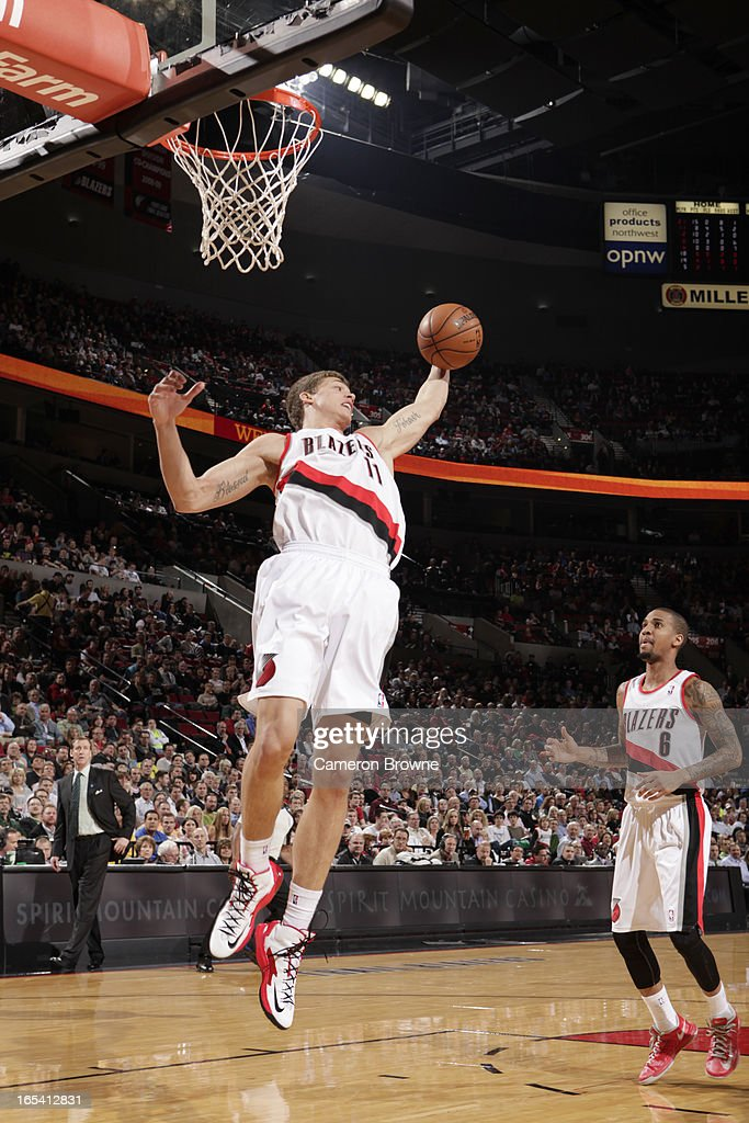 <a gi-track='captionPersonalityLinkClicked' href=/galleries/search?phrase=Meyers+Leonard&family=editorial&specificpeople=6893999 ng-click='$event.stopPropagation()'>Meyers Leonard</a> #11 of the Portland Trail Blazers handles the ball during the game between the Memphis Grizzlies and the Portland Trail Blazers on April 3, 2013 at the Rose Garden Arena in Portland, Oregon.