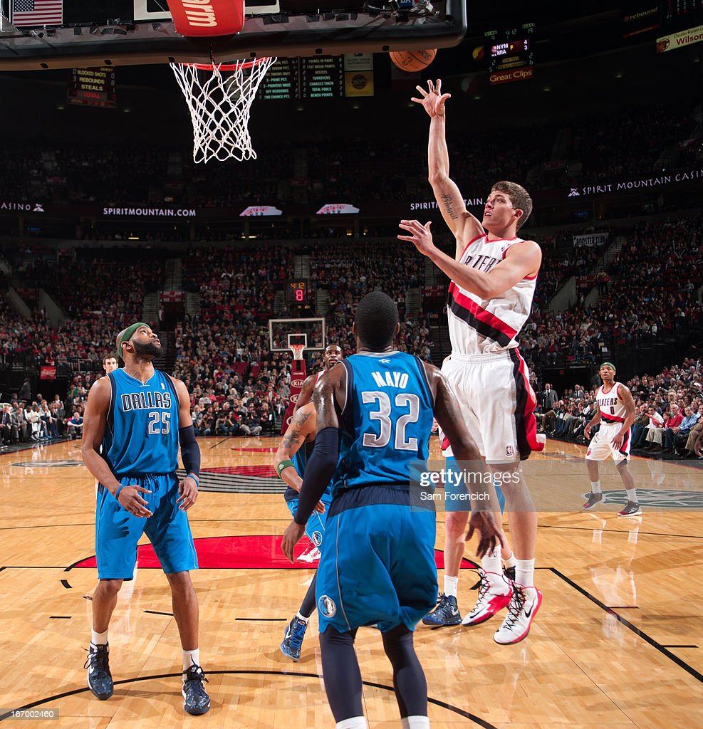 <a gi-track='captionPersonalityLinkClicked' href=/galleries/search?phrase=Meyers+Leonard&family=editorial&specificpeople=6893999 ng-click='$event.stopPropagation()'>Meyers Leonard</a> #11 of the Portland Trail Blazers puts up a shot against the Dallas Mavericks on April 7, 2013 at the Rose Garden Arena in Portland, Oregon.