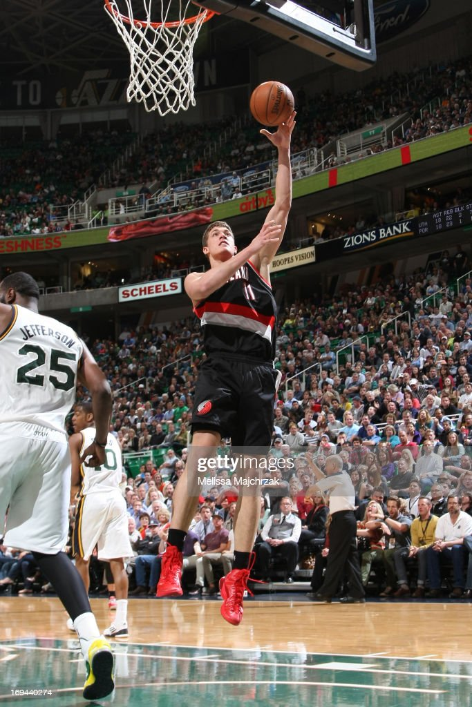 <a gi-track='captionPersonalityLinkClicked' href=/galleries/search?phrase=Meyers+Leonard&family=editorial&specificpeople=6893999 ng-click='$event.stopPropagation()'>Meyers Leonard</a> #11 of the Portland Trail Blazers shoots against the Utah Jazz at Energy Solutions Arena on April 1, 2013 in Salt Lake City, Utah.