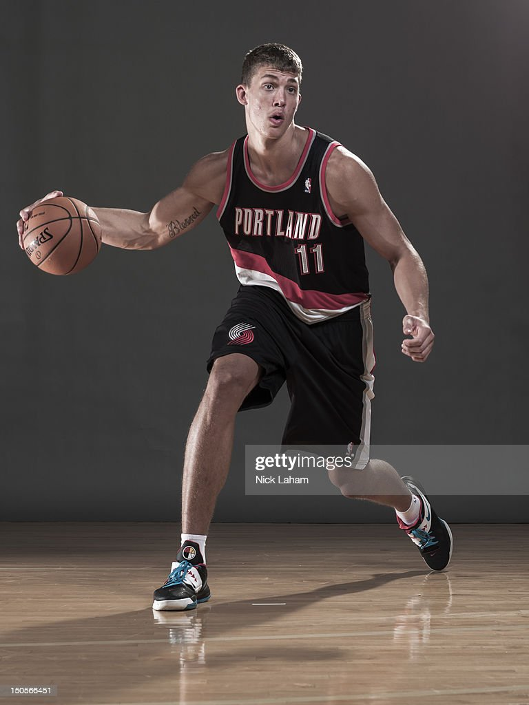 Meyers Leonard #11 of the Portland Trailblazers poses during the 2012 NBA Rookie Photo Shoot at the MSG Training Center on August 21, 2012 in Tarrytown, New York.