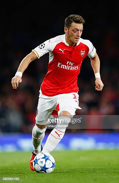 Mezut Ozil of Arsenal in action during the UEFA Champions League Group F match between Arsenal FC and Olympiacos FC at the Emirates Stadium on...