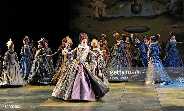 Mezzosoprano Ketevan Klemoklidze and choir members perform during the dress rehearsal of the opera 'Don Carlo' by Giuseppe Verdi on stage at the...