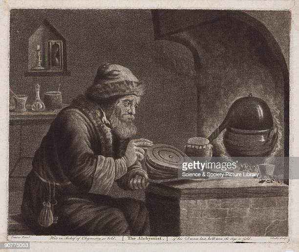 Mezzotint by W Baillie after Teniers showing an alchemist with bellows The words �He�s in belief of chymistry so bold if his dream last he�ll turn...