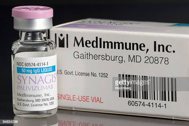 A 50 mg vial of MedImmune's infant antiviral treatment Synagis is arranged for a photograph at a Cambridge Massachusetts pharmacy on Monday April...