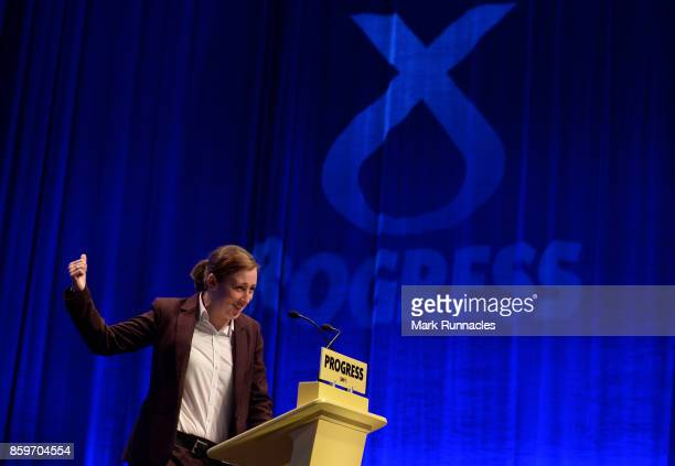 Mhairi Black MP speaks to delegates ahead of First Minister SNP Leader Nicola Sturgeon's keynote speech at The SNP Autumn Conference 2017 at the...