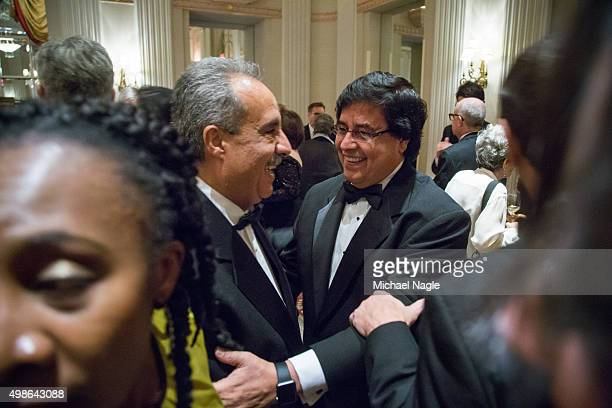 Mhamed Krichen of Al Jazeera greets awardee Candido Figueredo of Paraguay during the Committee to Protect Journalists' International Press Freedom...