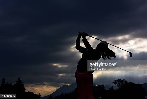 Mi Hang Lee of South Korea plays a shot during the second round of the Evian Championship Golf on September 11 2015 in EvianlesBains France