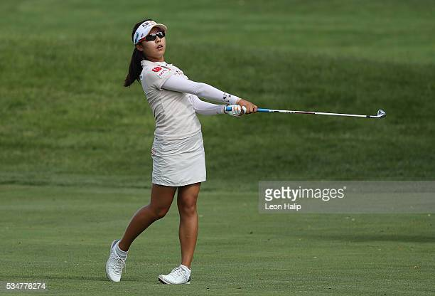 Mi Hyang Lee from South Korea hits her approach shot to the seventh green during the second round of the LPGA Volvik Championship on May 27 2016 at...