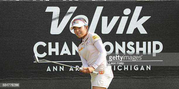 Mi Hyang Lee from South Korea reacts to her putt on the eighteenth green during the second round of the LPGA Volvik Championship on May 27 2016 at...