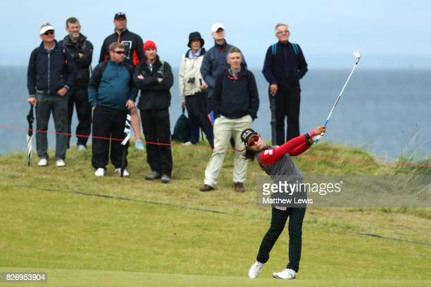 Mi Hyang Lee of Korea hits her second shot on the 4th hole during the final round of the Ricoh Women's British Open at Kingsbarns Golf Links on...