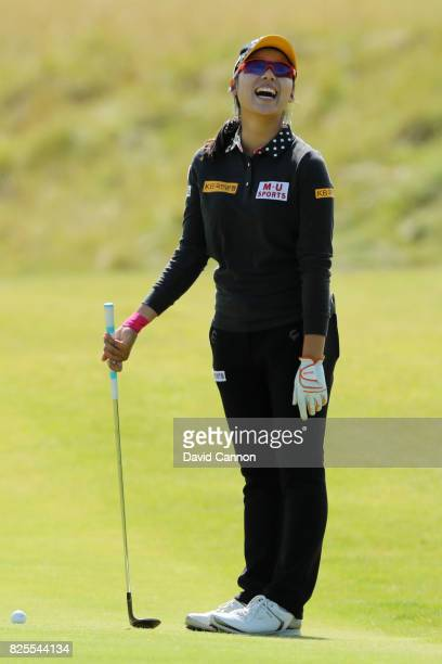Mi Hyang Lee of Korea laughs during a practice round prior to the Ricoh Women's British Open at Kingsbarns Golf Links on August 2 2017 in Kingsbarns...
