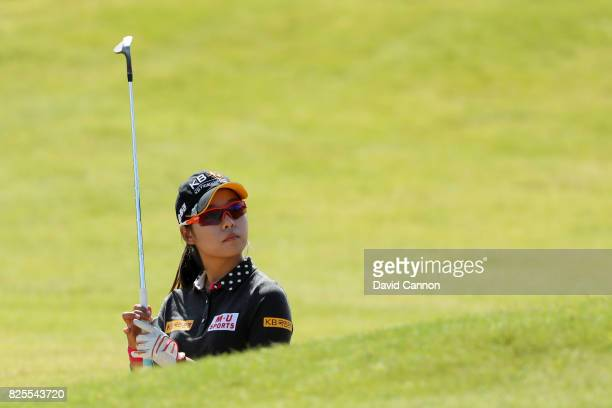 Mi Hyang Lee of Korea looks on during a practice round prior to the Ricoh Women's British Open at Kingsbarns Golf Links on August 2 2017 in...