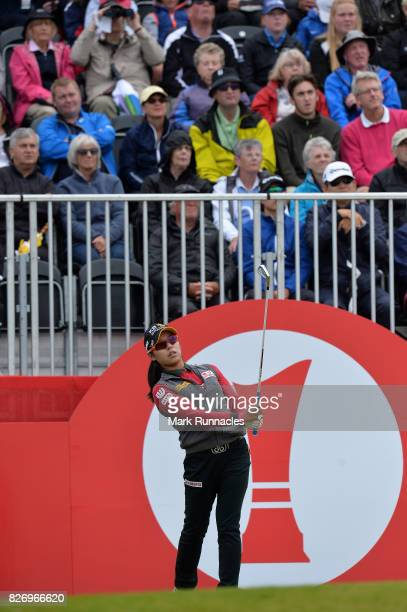 Mi Hyang Lee of Korea plays her tee shot at the 1st hole during the final day of the Ricoh Women's British Open at Kingsbarns Golf Links on August 6...