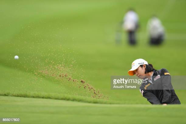 Mi Hyang Lee of South Korea hits from a bunker on the 10th hole during the first round of Japan Women's Open 2017 at the Abiko Golf Club on September...