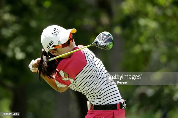 Mi Hyang Lee of South Korea hits her tee shot on the fifth hole during the third round of the 2017 KPMG PGA Championship on July 1 2017 in Olympia...