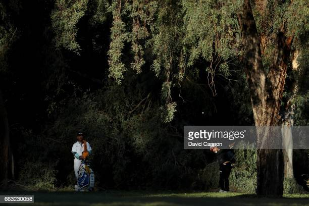 Mi Hyang Lee of South Korea plays her second shot at the par 5 ninth hole during the completion of the second round of the 2017 ANA Inspiration held...