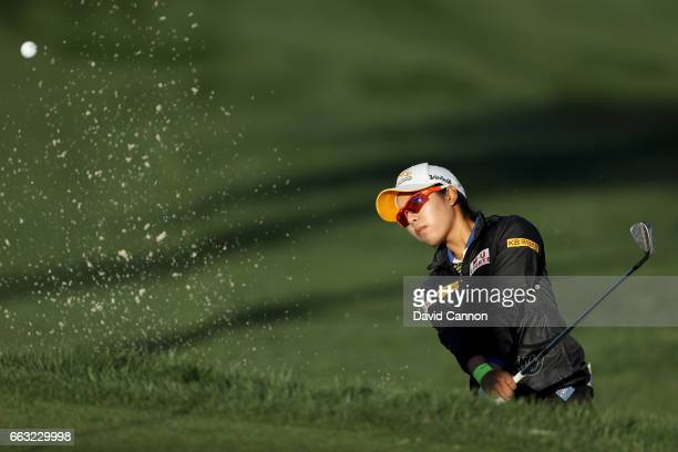 Mi Hyang Lee of South Korea plays her third shot at the par 5 ninth hole during the completion of the second round of the 2017 ANA Inspiration held...