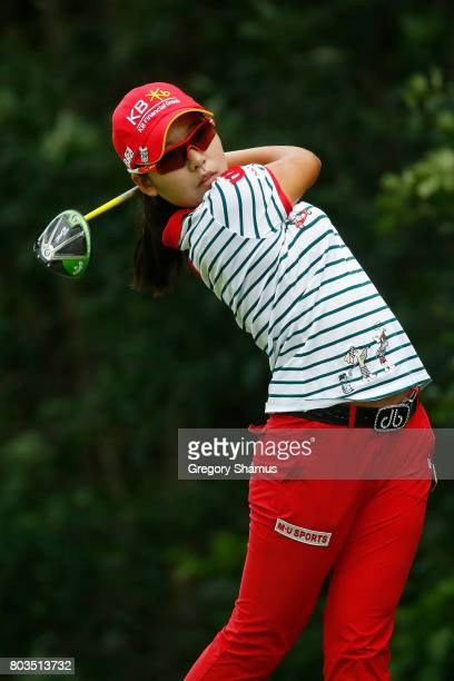 Mi Hyang Lee of South Korea watches her tee shot on the 13th hole during the first round of the 2017 KPMG PGA Championship at Olympia Fields Country...