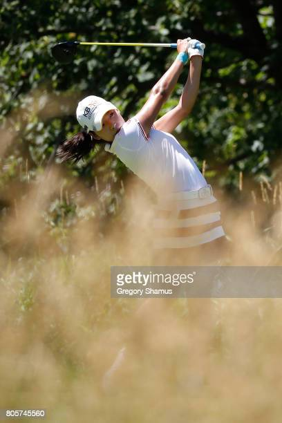 Mi Hyang Lee of South Korea watches her tee shot on the fifth hole watches her tee shot on the fifth hole during the final round of the 2017 KPMG PGA...