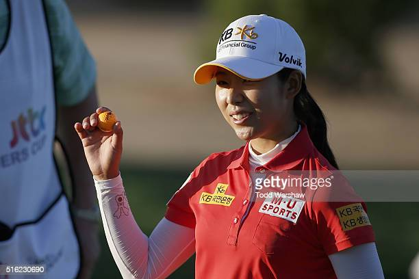 Mi Hyang Lee of South Korea waves to the crowd on the 9th hole during the first round of the LPGA JTBC Founders Cup at Wildfire Golf Club on March 17...